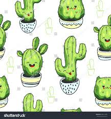 Cute Succulent Pots Seamless Pattern Cute Kawaii Cactus Succulents Stock Vector