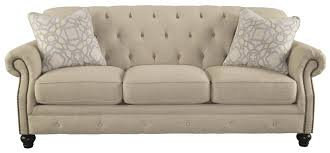 Sofa Back Pillows by Traditional Sofa With Tufted Back And Feather Blend Accent Pillows