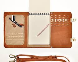 leather sketchbook case with pen holder and cross body strap