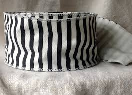 black and white wired ribbon black and white cotton twill striped wired ribbon 2 1 2 wide