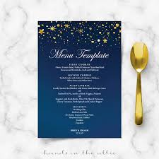 diy wedding menu cards starry wedding menu cards diy template gold glitter