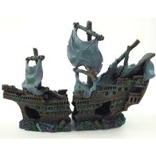 large aquarium shipwreck boat ornament