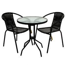 Mesh Patio Table by Black Wicker Bistro Sets Table Chair Patio Garden Outdoor