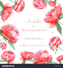 card template with the floral design elements of the red peonies