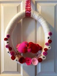 valentines day love birds and flowers yarn and felt wreath diy
