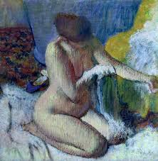 after the bath painting by edgar degas