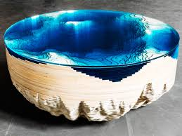 a cross section of the sea floor recreated in a coffee table wired