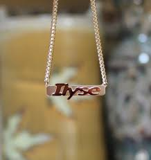 Gold Name Bar Necklace Raised Letter Name Bar Necklace By Purple Mermaid Designs