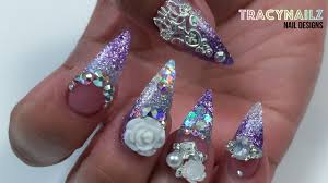 purple glitter white ice charm acrylic nails youtube