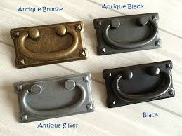 cabinet handles with backplate 3 vintage style drawer pull handles antique silver bronze black