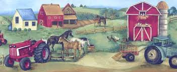 farm tractor barn horses cows chickens kids wallpaper border
