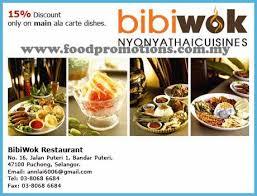 discount cuisines food bibiwok nyonya cuisines 15 discount