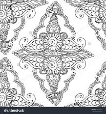 coloring pages adults seamless patternhenna mehndi stock vector