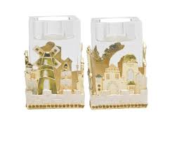 jewish home decor ivory jerusalem crystal candlesticks old city gift shop judaica