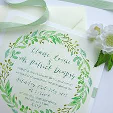summer wedding invitations summer wedding invitation with leaf garland by claryce design