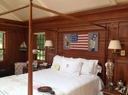 Covering Wood Paneling Vintage Master Bedroom Decors With Canopy Bed Frames Also White