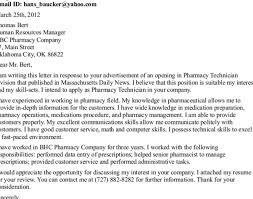 pharmacy technician resume cover letter lovely cover letter for