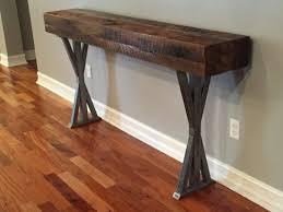 Barn Wood Sofa Table by Trevor U0027s Reclaimed Wood Foyer Table With Metal Legs Fama Creations