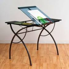 Rolling Drafting Table with Studio Designs Vision Silver Blue Glass Top Rolling Drafting Table