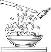 clip art of cooking salad with fresh vegetables sketch k31512536