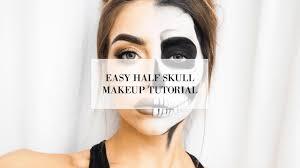 Half Skull Halloween Makeup by Easy Half Skull Halloween Makeup Tutorial I Cocochic Youtube