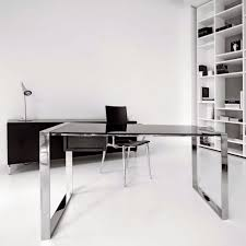 exotic modern computer desk with glass table contain lighting