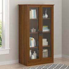 Cherry Bookcases With Glass Doors Bookcase Glass Doors Media Cabinet White Display Storage Shelves