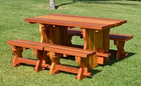 Trestle Table Bench Natural Wood Outdoor Dining Table With Benches