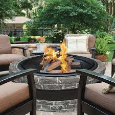 stone fire pit outdoor fireplace round patio heater wood firepit