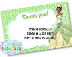 printable thank you cards princess tiana thank you card etsy