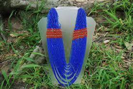 blue seed multi strand bohemian tribal necklace blue seed beads vintage renude