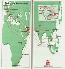 Easyjet Route Map by Airline Memorabilia Emirates 1995 1996