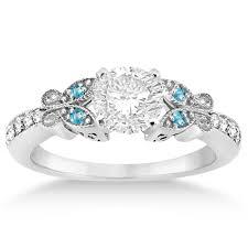 topaz engagement ring butterfly diamond blue topaz engagement ring platinum 0 20ct