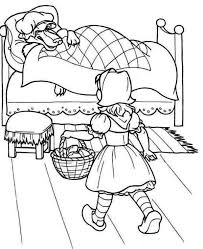 red riding hood walking closer to grandmas bed coloring pages
