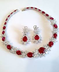 earring necklace ruby images Vintage sterling silver ruby and diamond collar estate jewelry jpg