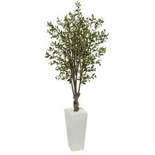 nearly 6 ft olive artificial tree in white tower planter