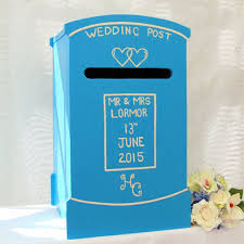 Verditer Blue Post Box Personalised Wedding Post Box U2013 Lindleywood