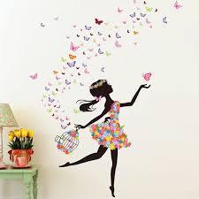 stickers fille chambre flower faerie danse fille stickers muraux chambre toile de fond de