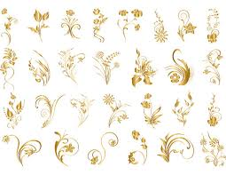 Gold Flowers Gold Digital Flourish Flowers Clip Art Gold By Onestopdigital
