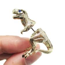 t rex earrings t rex dinosaur shaped front back stud earrings in gold dotoly