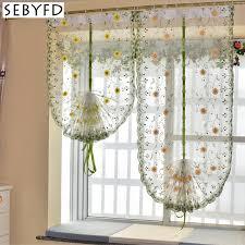 rideaux cuisine organza broderie motif fleurs ballon rideau tulle stores rideaux