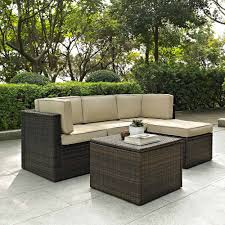 Veranda Metal Patio Loveseat Glider by Crosley Furniture Palm Harbor 5 Piece Outdoor Wicker Seating Set