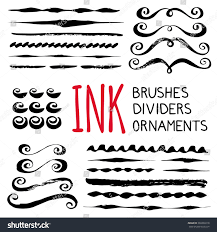 ink brushes dividers ornaments set stock vector 369330218
