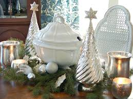 Table Decorations For Christmas Classic Silver And White Christmas Table Decor Hgtv