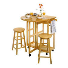 amazon com breakfast cart w table and 2 stools in white kitchen