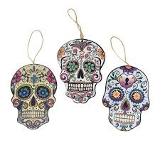 wooden skull assorted tree ornaments 6 inch 3
