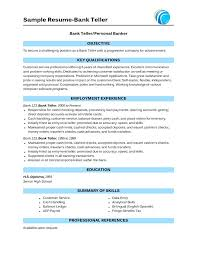 bank teller resume key skills supervisor cover letter resumes