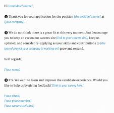 Rejection Letter Recruitment Agency what is the best applicant rejection email for a recruiter to send
