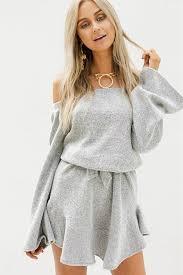 light gray off shoulder long sleeve sweater casual dress long