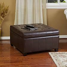 40 X 40 Storage Ottoman Amazon Com Patsy Espresso Tufted Leather Storage Ottoman Kitchen